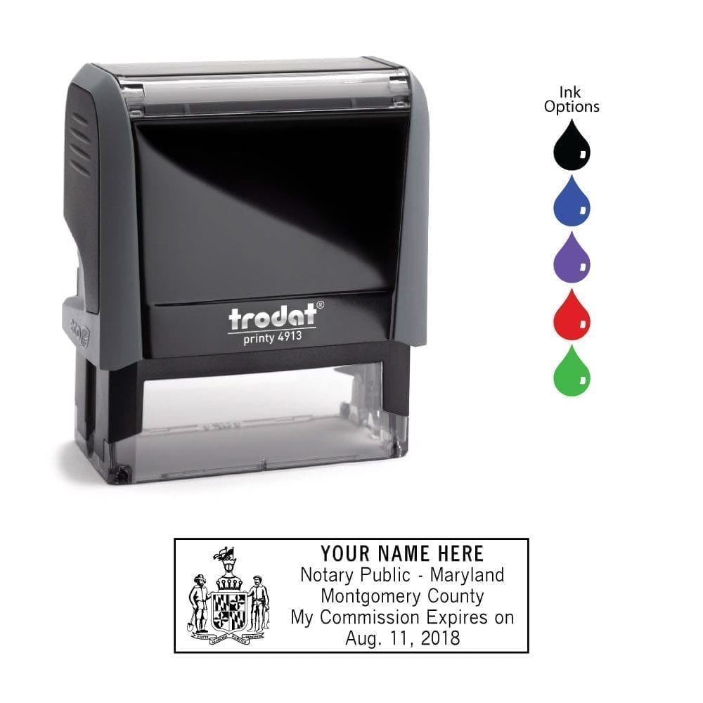 Maryland Notary Stamp - Trodat 4913 Eco Gray