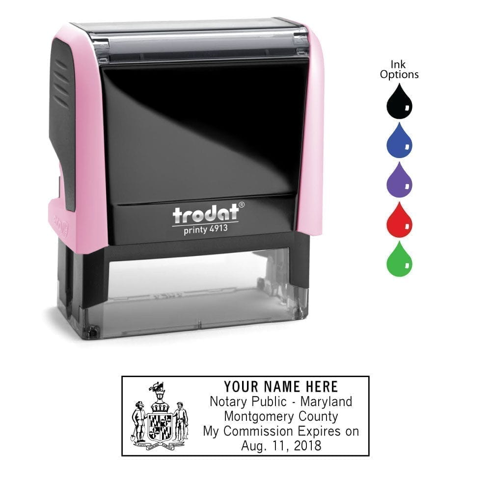 Maryland Notary Stamp - Trodat 4913 Light Pink