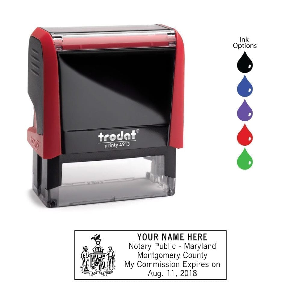 Maryland Notary Stamp - Trodat 4913 Flame Red