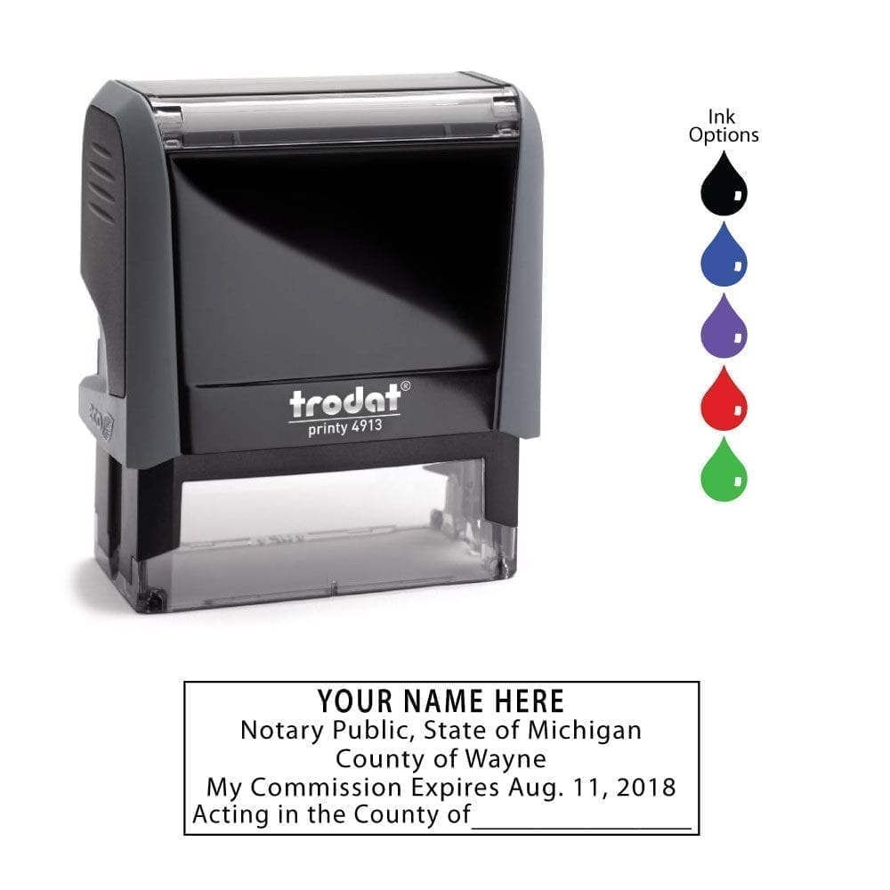 Michigan Notary Stamp – Trodat 4913 Eco Gray