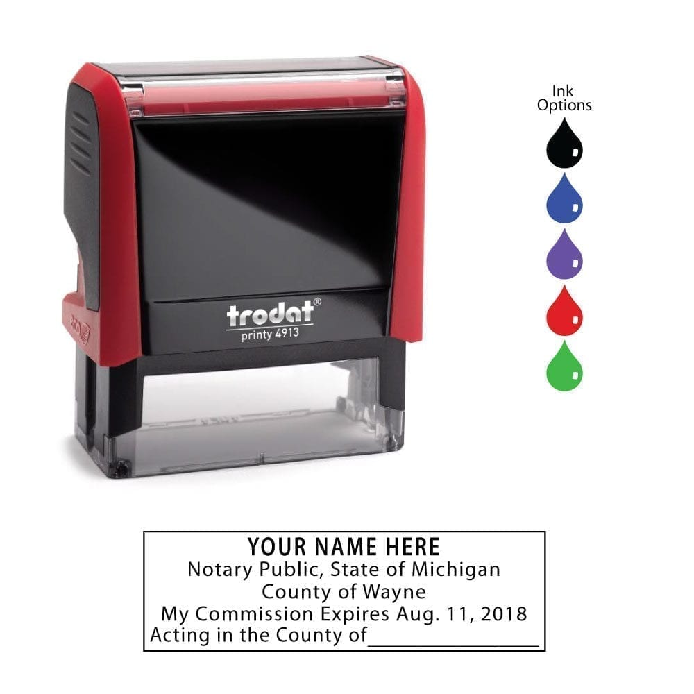 Michigan Notary Stamp – Trodat 4913 Flame Red