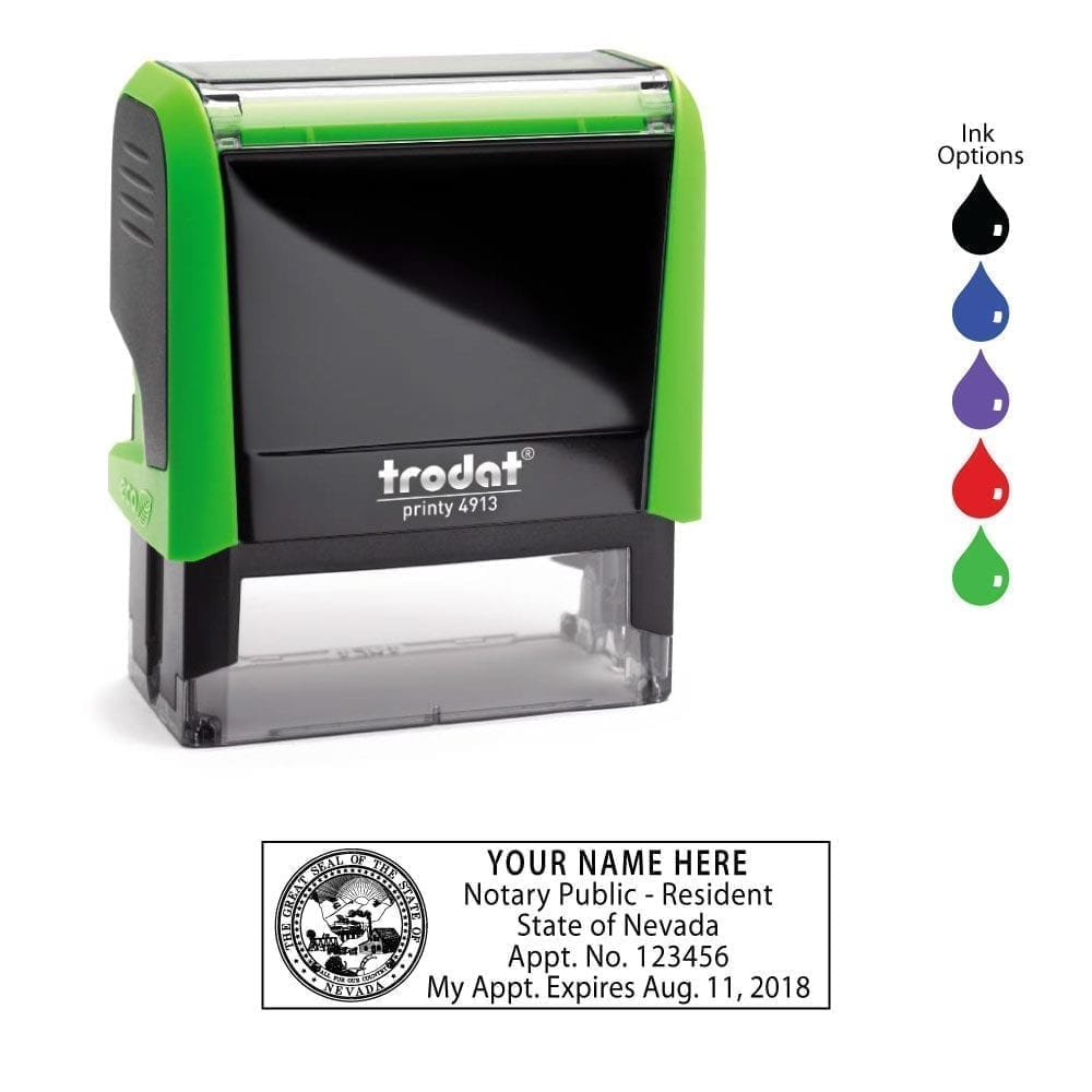 Nevada Notary Stamp - Trodat 4913 Apple Green