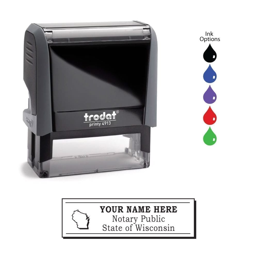 Wisconsin Notary Stamp – Trodat 4913 Eco Gray