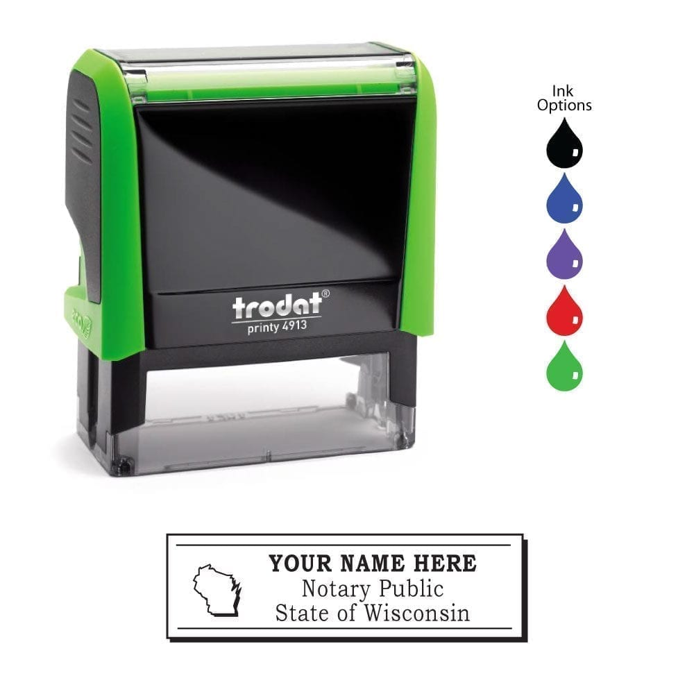 Wisconsin Notary Stamp – Trodat 4913 Apple Green