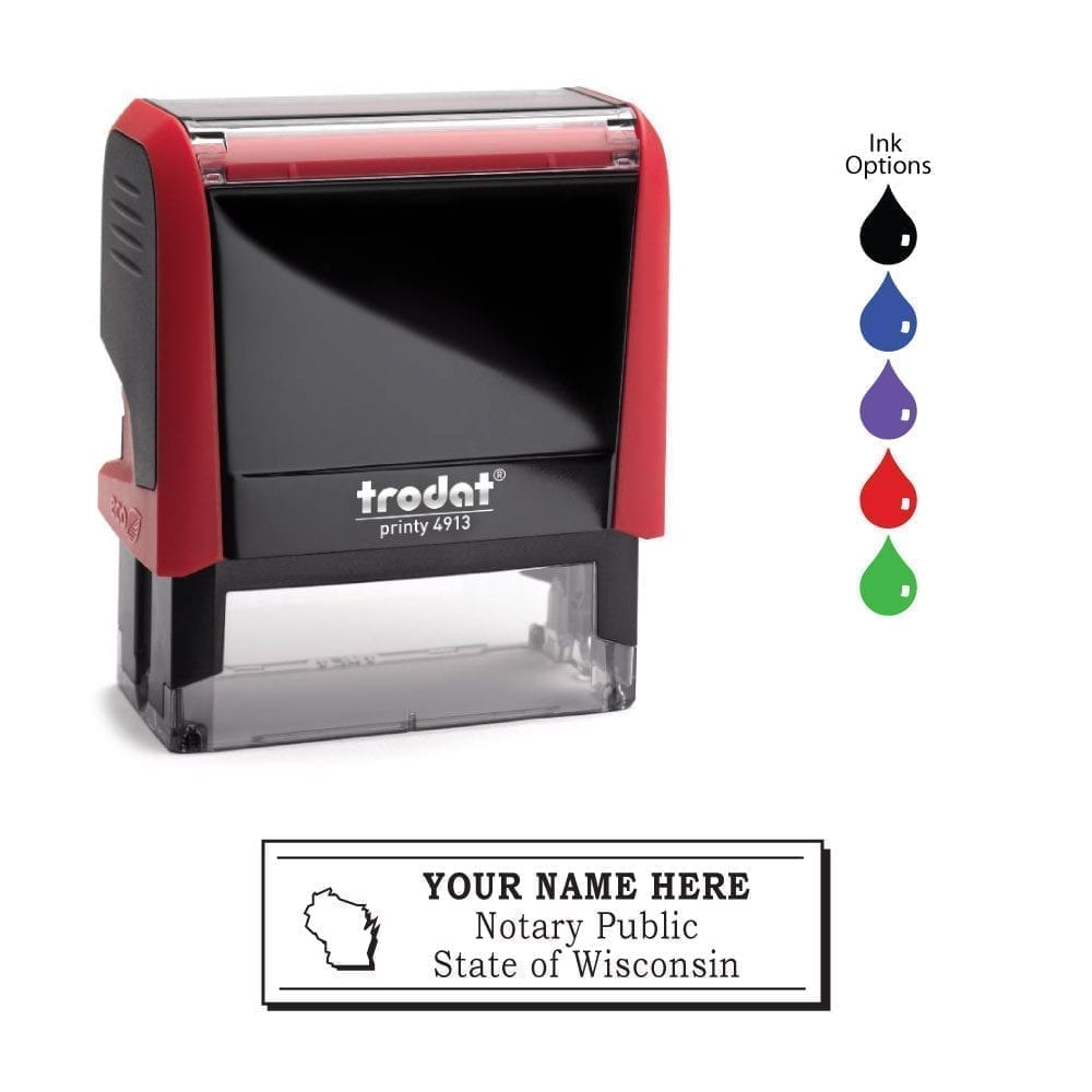 Wisconsin Notary Stamp – Trodat 4913 Flame Red