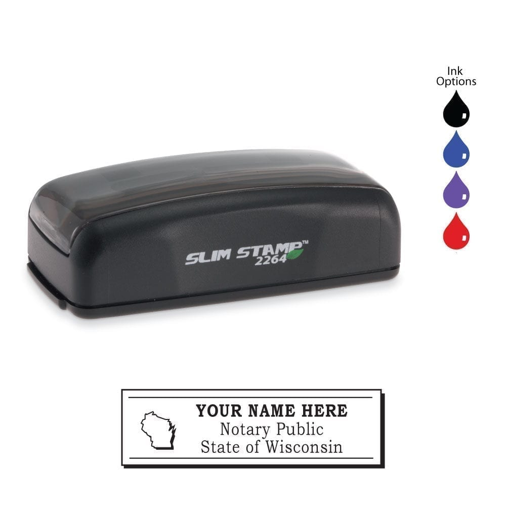 Wisconsin Notary Stamp – PSI 2264 Slim