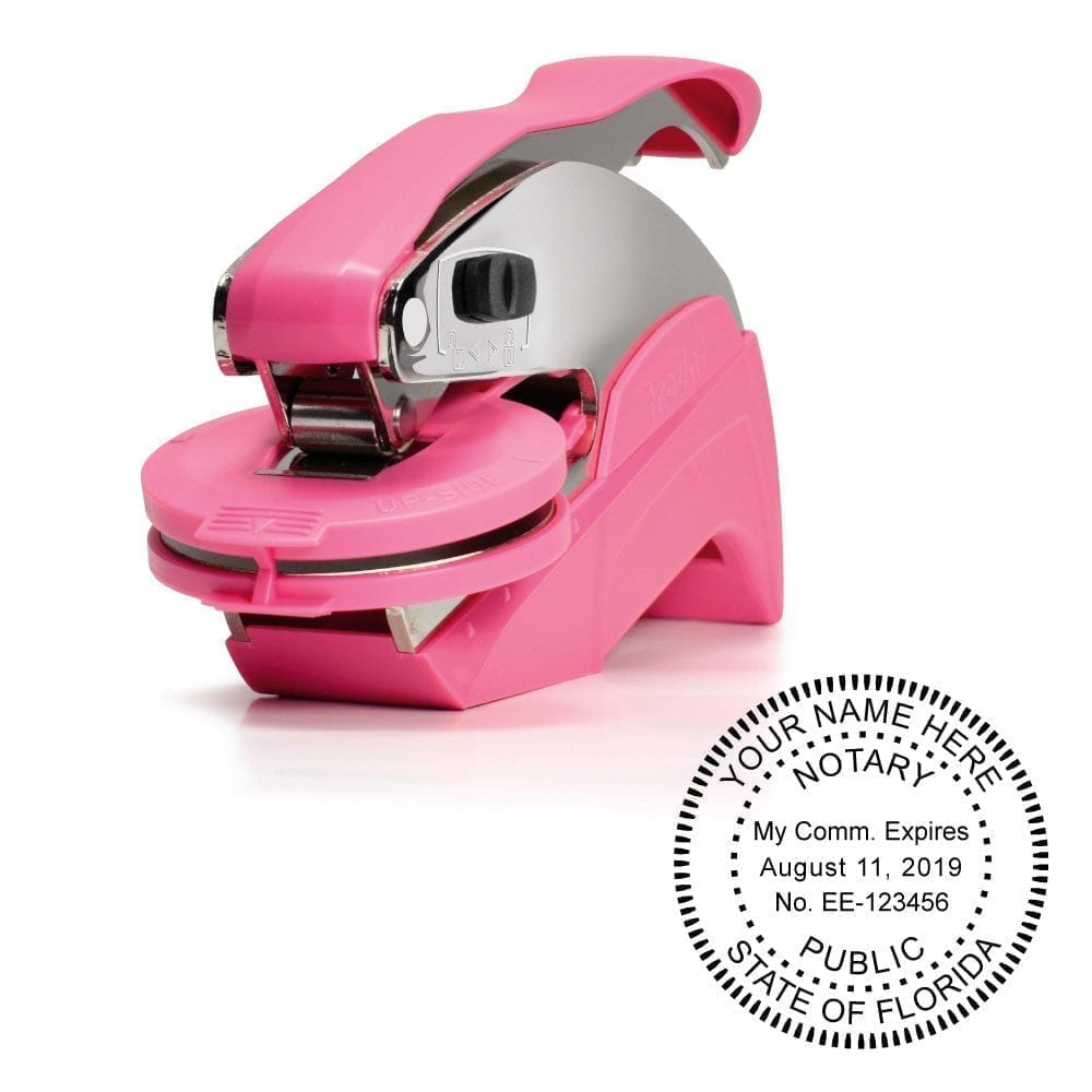Florida Notary Embosser – Ideal Seal Pink