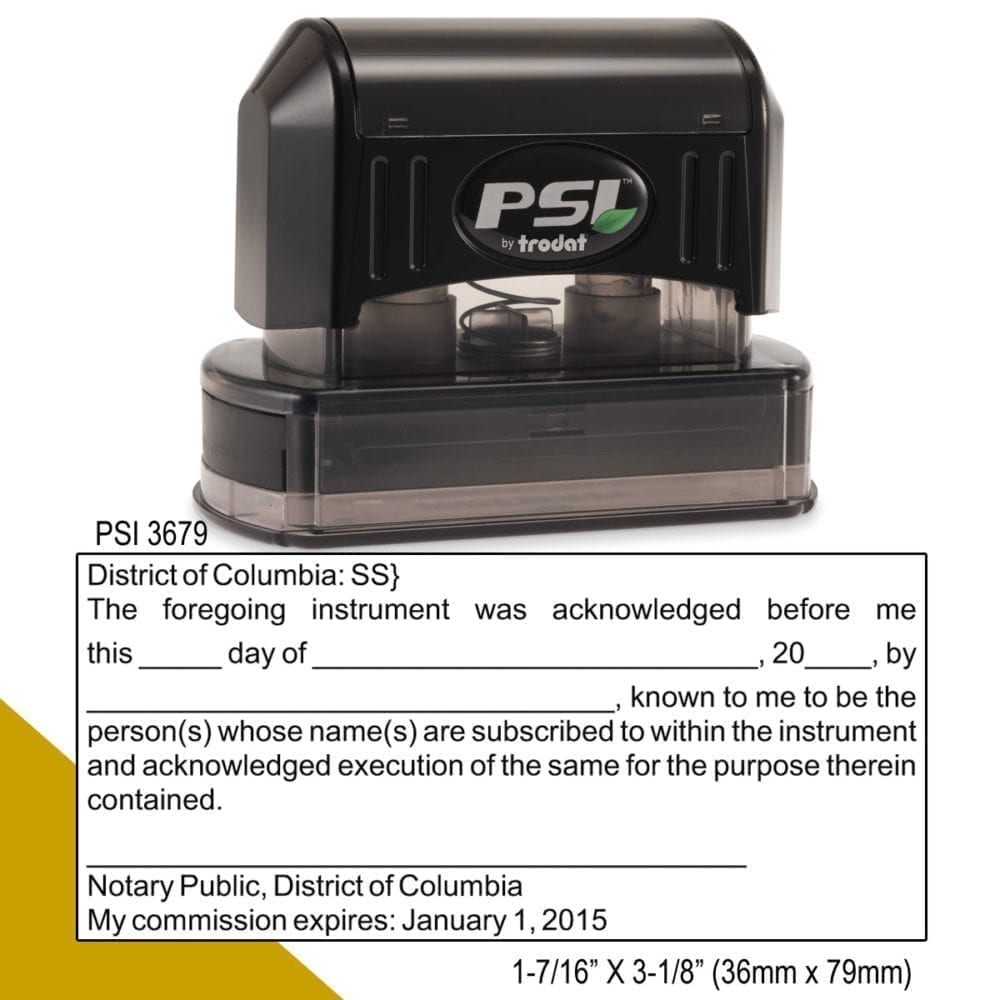 District of Columbia Notary Acknowledgment Stamp