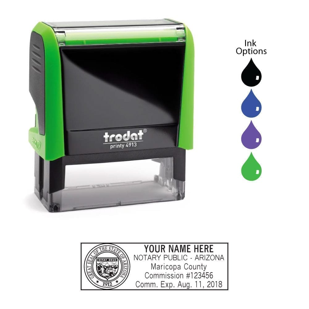 Arizona Notary Stamp - Trodat 4913 Apple Green