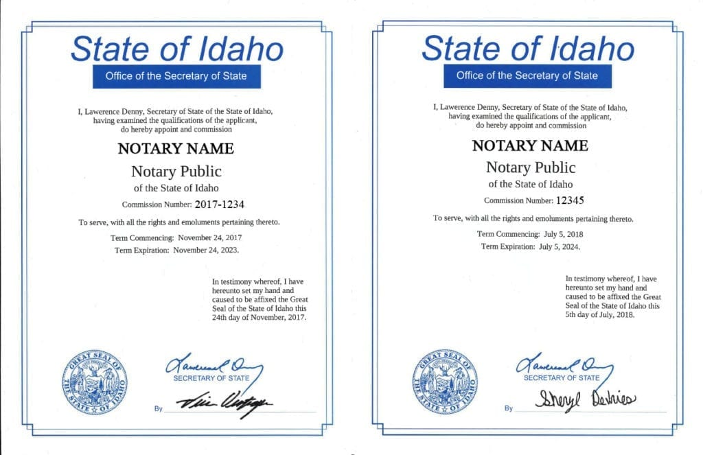 Idaho Notary Certificate Sample