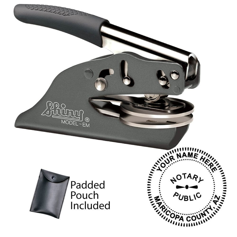 Arizona Notary Embosser - Shiny EZ EM Gray