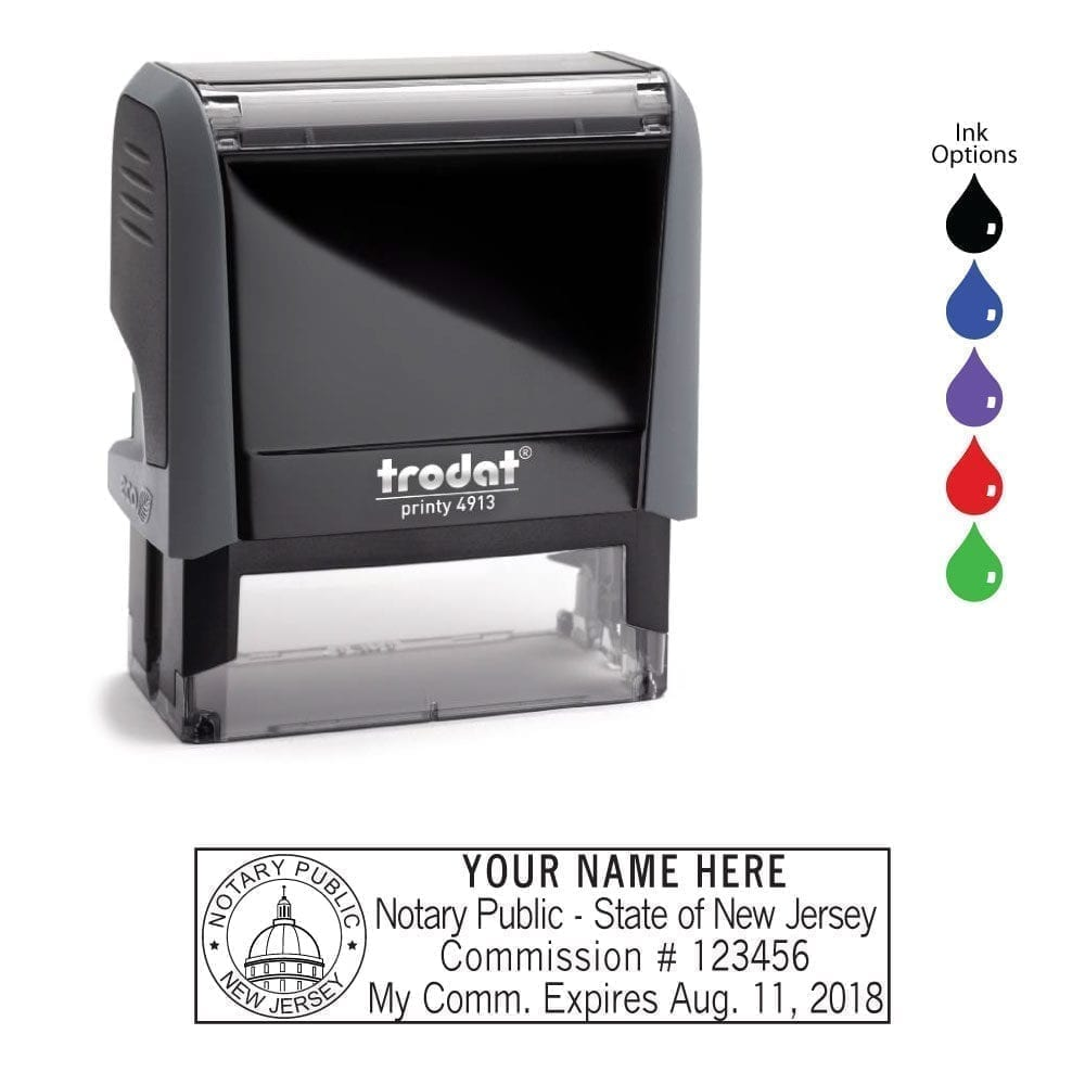 New Jersey Notary Stamp Trodat 4913 Eco Gray