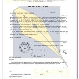 Michigan Notary Bond - P1