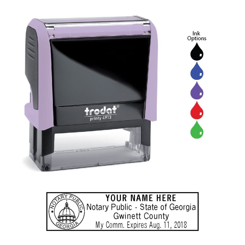 Georgia Notary Stamp - Trodat 4913 - Lilac