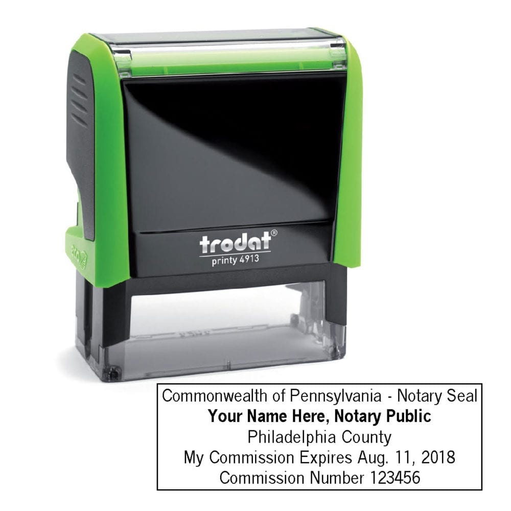 Pennsylvania Notary Stamp - Trodat 4913 Apple Green