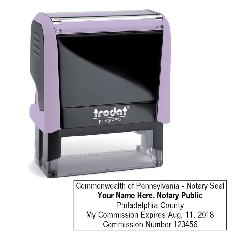 Pennsylvania Notary Stamp - Trodat 4913 Lilac