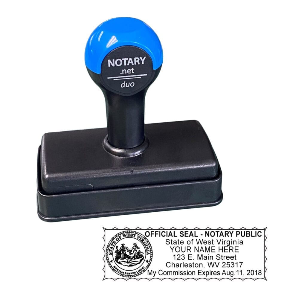 West Virginia Traditional Notary Stamp - Shiny Duo